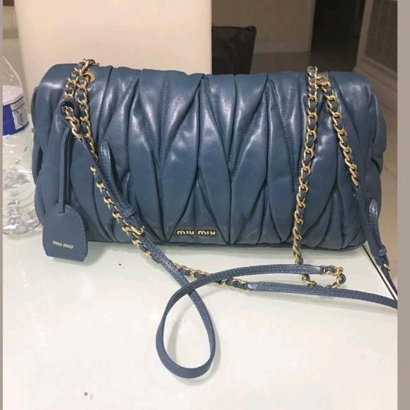 b8a9b1e3d234 Miu Miu by Prada Blue leather matelasse purse bag.  M 5bdfc4a8de6f62aac8a1dc4b